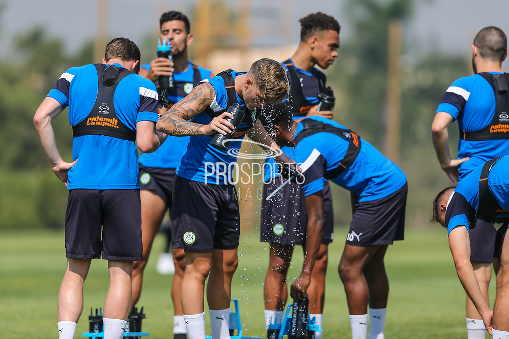 Forest Green Rovers Charlie Cooper(15) cools down during the Forest Green Rovers Training session at Browns Sport and Leisure Club, Vilamoura, Portugal on 25 July 2017. Photo by Shane Healey.