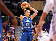 Sep 25, 2011; Phoenix, AZ, USA; Minnesota Lynx guard Lindsay Whalen  (13) reacts on the court while playing Phoenix Mercury at the US Airways Center. The Lynx defeated the Mercury 103-86. Mandatory Credit: Jennifer Stewart-US PRESSWIRE