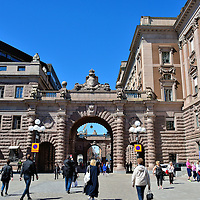Archway Between Parliament and Former National Bank in Stockholm, Sweden<br />