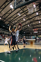 10 January 2009: Christina Solari one on one taking a shot against Kelly Brooks. The Lady Titans of Illinois Wesleyan University downed the and Lady Thunder of Wheaton College by a score of 101 - 57 in the Shirk Center on the Illinois Wesleyan Campus in Bloomington Illinois.