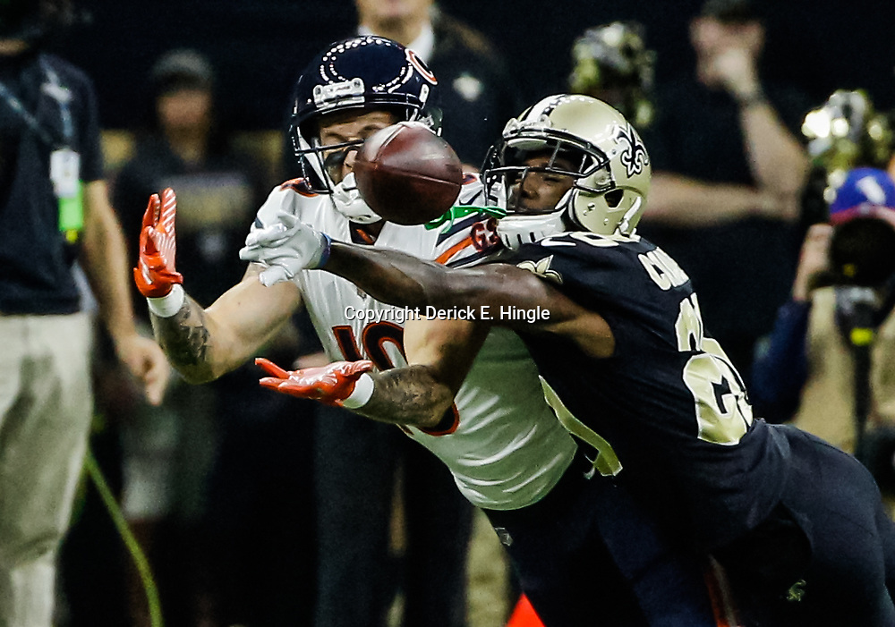 Oct 29, 2017; New Orleans, LA, USA; New Orleans Saints cornerback Ken Crawley (20) breaks up a pass to Chicago Bears wide receiver Kendall Wright (13)  during the first half of a game at the Mercedes-Benz Superdome. Mandatory Credit: Derick E. Hingle-USA TODAY Sports
