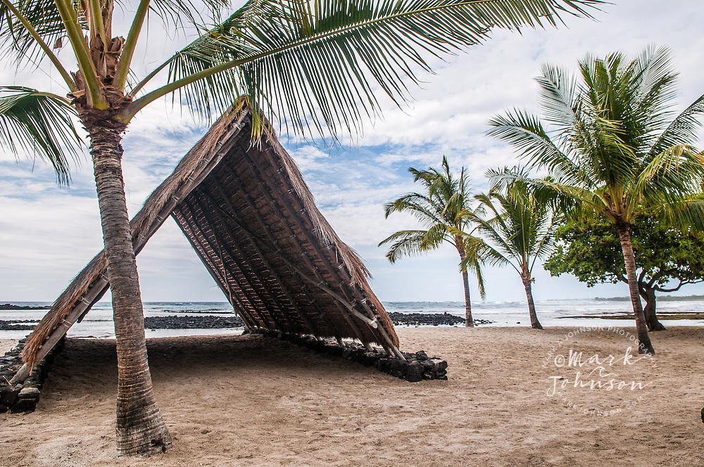 Thatched palm hut, Kaloko-Honokohau National Historical Park, Kona, Hawaii