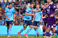 April 29, 2017: Sydney FC forward Filip HOLOSKO (21) and Sydney FC forward Bobo (9) ready for an incoming corner kick at Semi Final one of the 2016/17 Hyundai A-League match, between Sydney FC and Perth Glory, played at Allianz Stadium in Sydney.