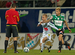 26.11.2011, Keine Sorgen Arena, Ried im Innkreis, AUT, 1.FBL, SV Josko Ried vs FC Wacker Innsbruck, im Bild (v.l.n.r.) Peter Hackmair, (FC Wacker Innsbruck, #10) und Thomas Hinum, (SV Josko Ried, #18), EXPA Pictures © 2011, PhotoCredit: EXPA/ R. Hackl