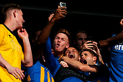Jon Nolan, Carlton Morris and Joe Riley of Shrewsbury Town celebrate winning the playoff semi-final against Charlton Athletic - Mandatory by-line: Robbie Stephenson/JMP - 13/05/2018 - FOOTBALL - Montgomery Waters Meadow - Shrewsbury, England - Shrewsbury Town v Charlton Athletic - Sky Bet League One Play-Off Semi Final