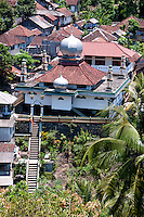 Mosque in neighboring village seen from Amlapura Palace in Bali, Indonesia