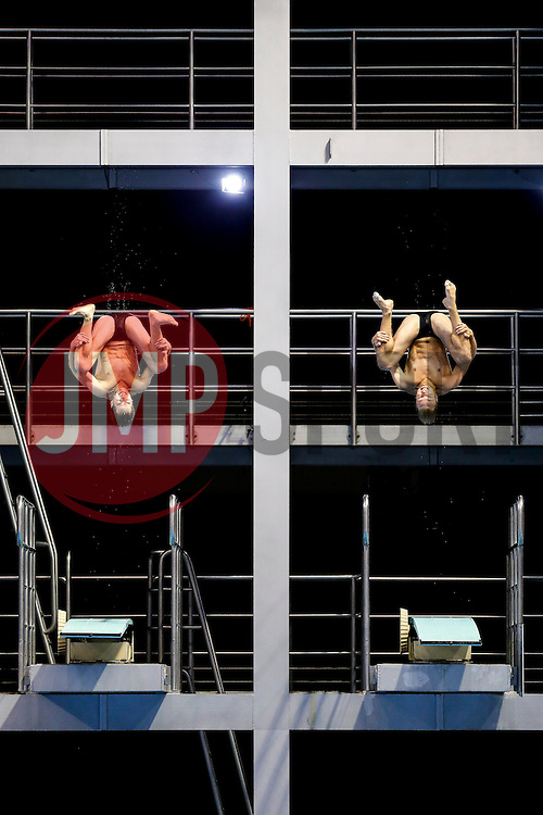 Patrick Hausding and Stephan Feck of Germany in action in the Mens 3m Synchronised Springboard Preliminary - Photo mandatory by-line: Rogan Thomson/JMP - 07966 386802 - 22/08/2014 - SPORT - DIVING - Berlin, Germany - SSE im Europa-Sportpark - 32nd LEN European Swimming Championships 2014 - Day 10.