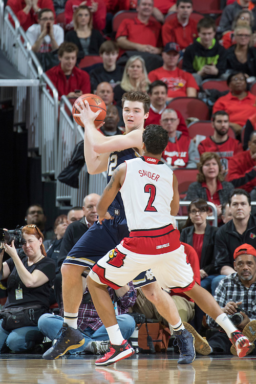 Notre Dame guard Steve Vasturia. <br /> <br /> The University of Louisville hosted Notre Dame, Wednesday, March 04, 2015 at Yum Center in Louisville. <br /> <br /> Photo by Jonathan Palmer