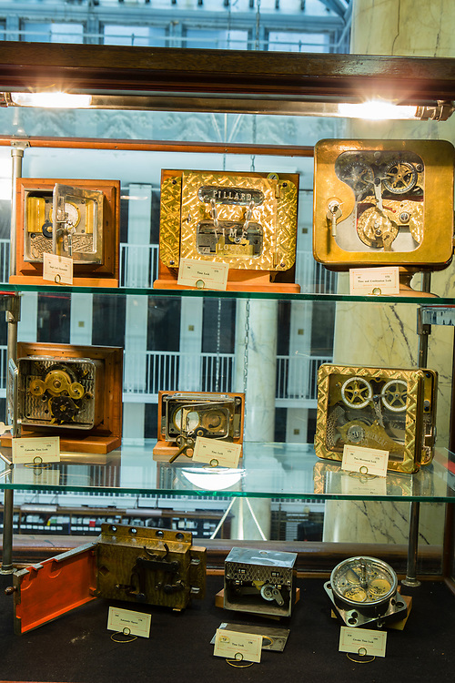 A selection of time locks in the John M. Mossman Lock Collection at the General Society of Mechanics & Tradesmen of the City of New York.