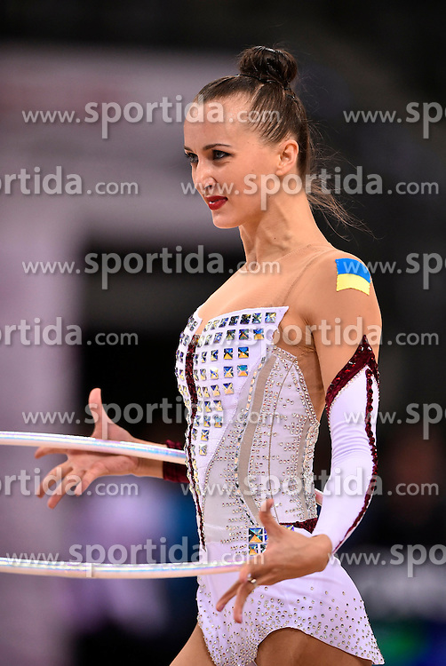 07.09.2015, Porsche Arena, Stuttgart, GER, Gymnastik WM, im Bild Ganna Rizatdinova (UKR) Reifen // during the World Rhythmic Gymnastics Championships at the Porsche Arena in Stuttgart, Germany on 2015/09/07. EXPA Pictures &copy; 2015, PhotoCredit: EXPA/ Eibner-Pressefoto/ Weber<br /> <br /> *****ATTENTION - OUT of GER*****