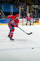 KELOWNA, BC - FEBRUARY 06:  Matt Leduc #3 of the Spokane Chiefs passes the puck against the Kelowna Rockets at Prospera Place on February 6, 2019 in Kelowna, Canada. (Photo by Marissa Baecker/Getty Images)