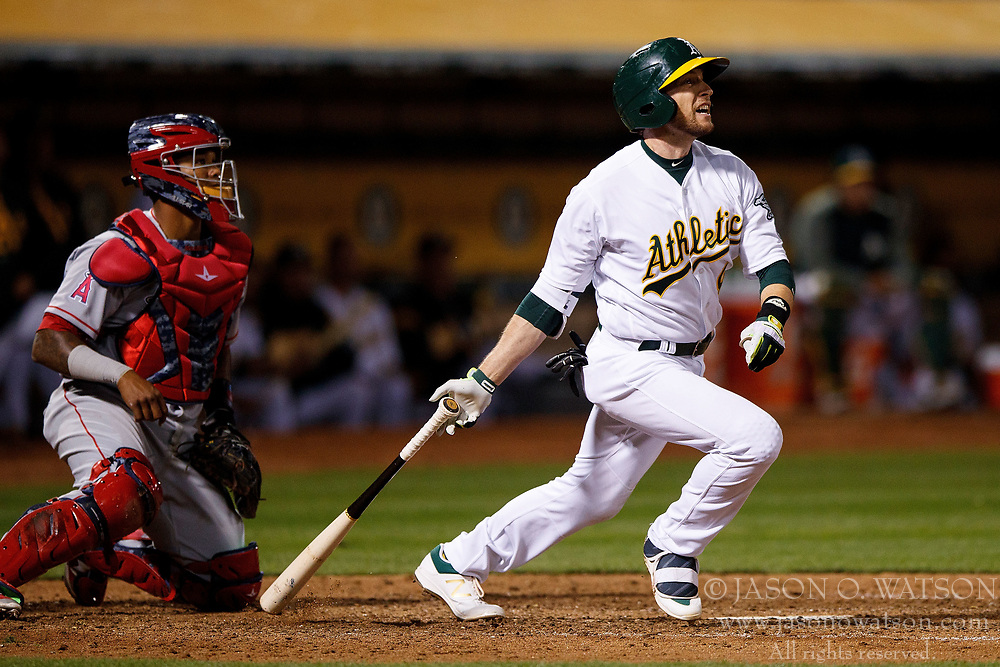 OAKLAND, CA - APRIL 04:  Jed Lowrie #8 of the Oakland Athletics at bat against the Los Angeles Angels of Anaheim during the eighth inning at the Oakland Coliseum on April 4, 2017 in Oakland, California. The Los Angeles Angels of Anaheim defeated the Oakland Athletics 7-6. (Photo by Jason O. Watson/Getty Images) *** Local Caption *** Jed Lowrie
