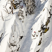 Griffon Post drops a cliff in-bounds in the Crags area of Jackson Hole Mountain Resort.