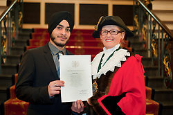 British Army Enlistments Oath of Allegiance held at the Mansion House Doncaster South Yorkshire. recruit Mandeep Singh with Deputy Mayor of Doncaster, Councillor Patricia Schofield  .14 January 2010.Images © Paul David Drabble