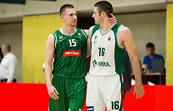 Gregor Hrovat of Petrol Olimpija and Marko Josilo of Krka after the basketball match between KK Krka Novo mesto and  KK Petrol Olimpija in 4th Final game of Liga Nova KBM za prvaka 2017/18, on May 27, 2018 in Sports hall Leona Stuklja, Novo mesto, Slovenia. Photo by Vid Ponikvar / Sportida
