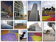 Israel, Tel Aviv, a collage of the newly renovated Habima Theatre and plaza