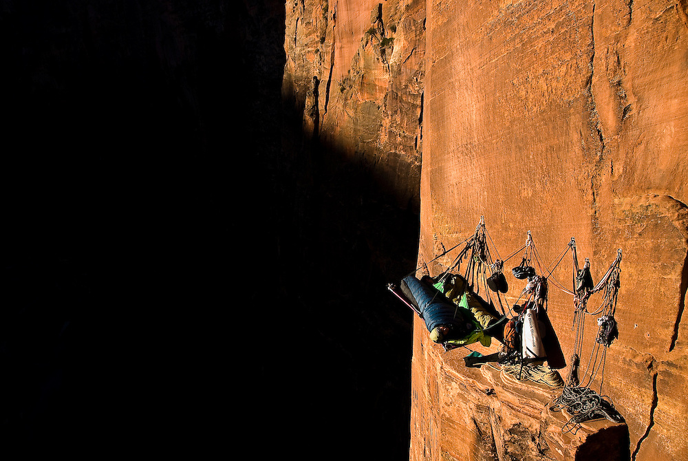 Kate Rutherford and Madaleine Sorkin, on a Free Ascent of Moonlight Buttress (V 5.12), Zion National Park