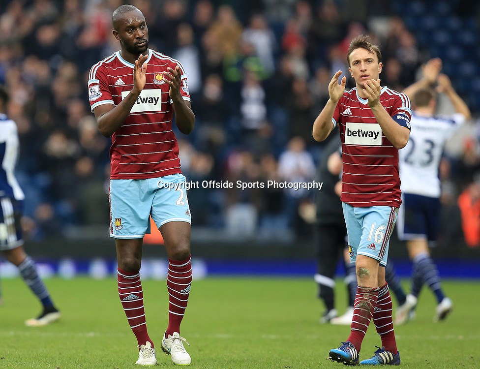 14th February 2015 - FA Cup 5th Round - West Bromwich Albion v West Ham United - Carlton Cole and Mark Noble of West Ham United look dejected - Photo: Paul Roberts / Offside.