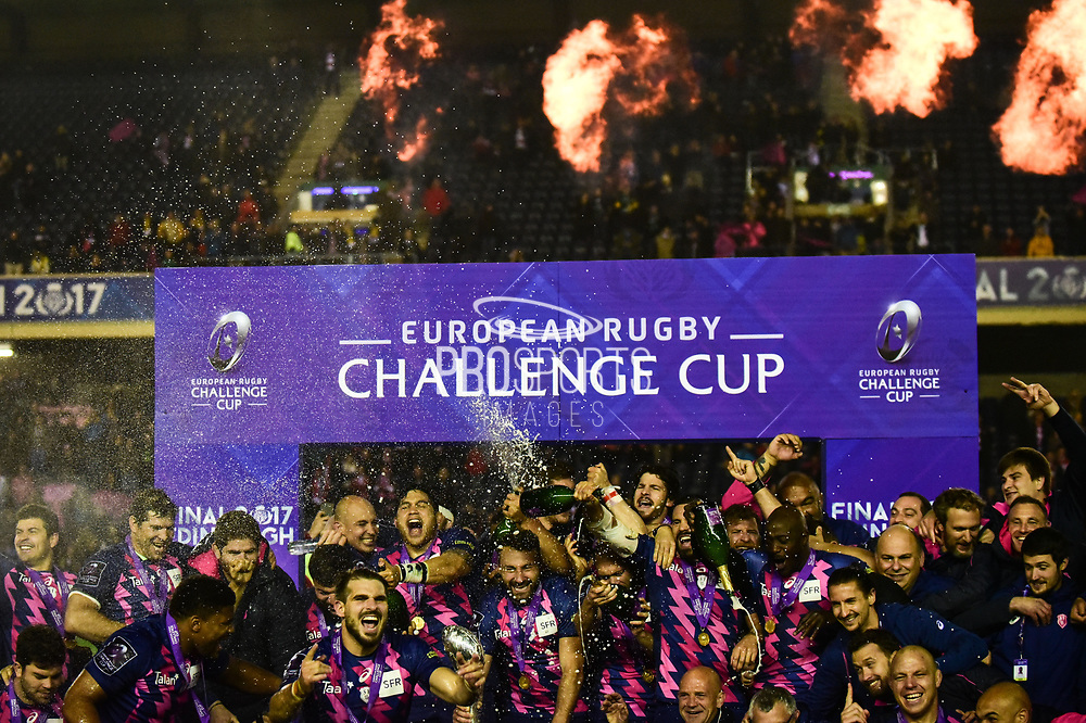 Stade Francais ceelebrate winning the European Rugby Challenge Cup match between Gloucester Rugby and Stade Francais at BT Murrayfield, Edinburgh, Scotland on 12 May 2017. Photo by Kevin Murray.