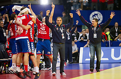 Veselin Vukovic, head coach of Serbia ® and players of Serbia celebrate during handball match between Serbia and Croatia in 2nd Semifinal at 10th EHF European Handball Championship Serbia 2012, on January 27, 2012 in Beogradska Arena, Belgrade, Serbia. Serbia defeated Croatia 26-22. (Photo By Vid Ponikvar / Sportida.com)