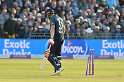 Wicket - Jonny Bairstow of England looks dejected as he walks back to the pavilion after being bowled by Junaid Khan of Pakistan during the third Royal London One Day International match between England and Pakistan at the Bristol County Ground, Bristol, United Kingdom on 14 May 2019.