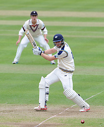 Yorkshire's Alex Less cuts the ball. Photo mandatory by-line: Harry Trump/JMP - Mobile: 07966 386802 - 24/05/15 - SPORT - CRICKET - LVCC County Championship - Division 1 - Day 1- Somerset v Sussex Sharks - The County Ground, Taunton, England.