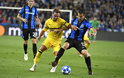 September 18, 2018 - Brugge, BELGIQUE - BRUGGE, BELGIUM - SEPTEMBER 18 : Matej Mitrovic defender of Club Brugge and Mario Gotze midfielder of Borussia Dortmund  pictured during a  the UEFA Champions League Group A stage match between Club Brugge and Borussia Dortmund at the Jan Breydel stadium on September 18, 2018 in Brugge, Belgium , 18/09/2018 (Credit Image: © Panoramic via ZUMA Press)
