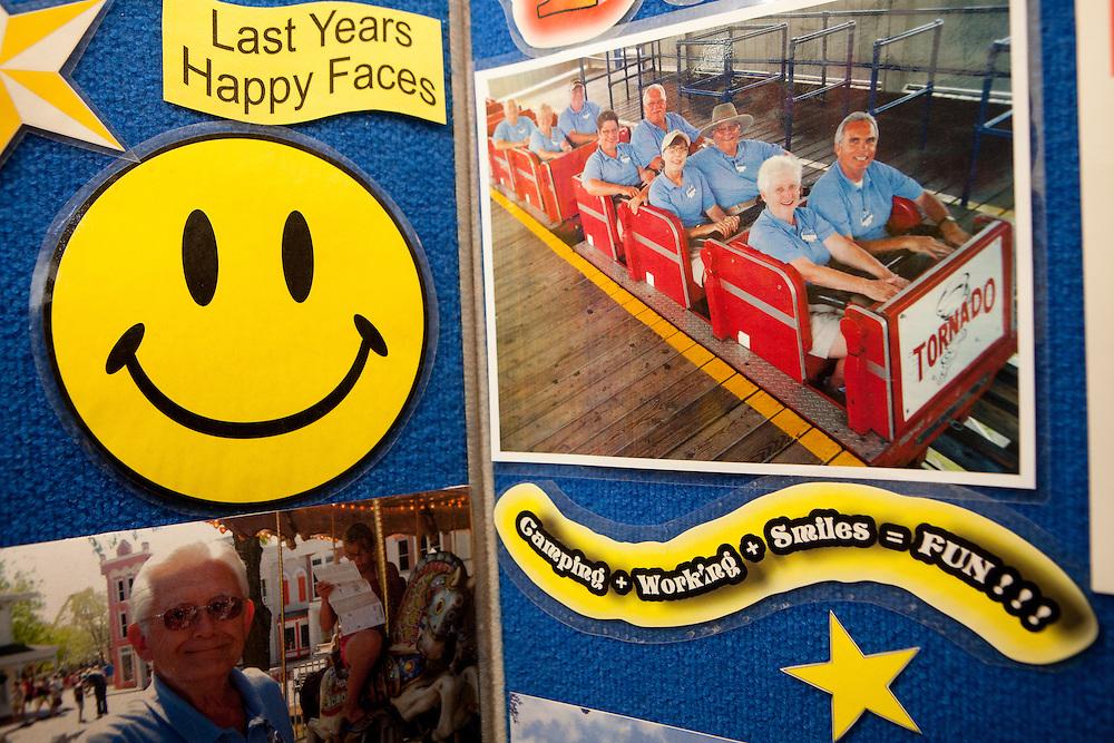 Recruiting materials for Adventureland, an Iowa amusement park, at an RV show in Quartzite, Arizona.