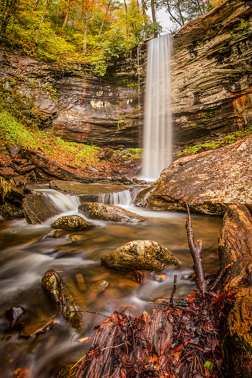 Autumn colors beginning to show at the lower falls of Hills Creek, West Virginia.