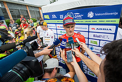 Third placed Matej Mohoric of Bahrain Merida in Overall classification after the trophy ceremony after the 5th Time Trial Stage of 25th Tour de Slovenie 2018 cycling race between Trebnje and Novo mesto (25,5 km), on June 17, 2018 in  Slovenia. Photo by Vid Ponikvar / Sportida