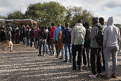 "Calais, Pas-de-Calais, France - 17.10.2016    <br />  <br /> ""Jungle"" refugee camp on the outskirts of the French city of Calais. Many thousands of migrants and refugees are waiting in some cases for years in the port city in the hope of being able to cross the English Channel to Britain. French authorities announced that they will shortly evict the camp where currently up to up to 10,000 people live."