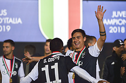 May 19, 2019 - Turin, Turin, Italy - Douglas Costa, Paulo Dybala of Juventus FC celebrates the trophy of Scudetto  2018-2019 at Allianz Stadium, Turin (Credit Image: © Antonio Polia/Pacific Press via ZUMA Wire)