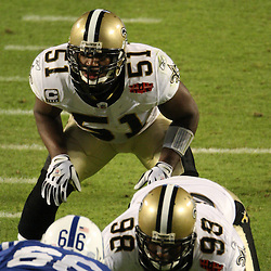 Feb 07, 2010; Miami Gardens, FL, USA; New Orleans Saints linebacker Jonathan Vilma (51) lines up for a play during a 31-17 win by the New Orleans Saints over the Indianapolis Colts in Super Bowl XLIV at Sun Life Stadium.  Mandatory Credit: Derick E. Hingle-US PRESSWIRE