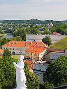 High-angle view from the Cathedral Clocktower looking over the Cathedral/Katedra and the Neris River, Vilnius, Lithuania
