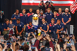 February 28, 2019 - U.S. - LAS VEGAS, NV - MARCH 01: USA Eagles pose for a team photo in front of their fans after the all nations parade the evening before the USA Rugby Sevens held March 1-3, 2019 at Sam Boyd Stadium in Las Vegas, NV. (Photo by Allan Hamilton/Icon Sportswire) (Credit Image: © Allan Hamilton/Icon SMI via ZUMA Press)