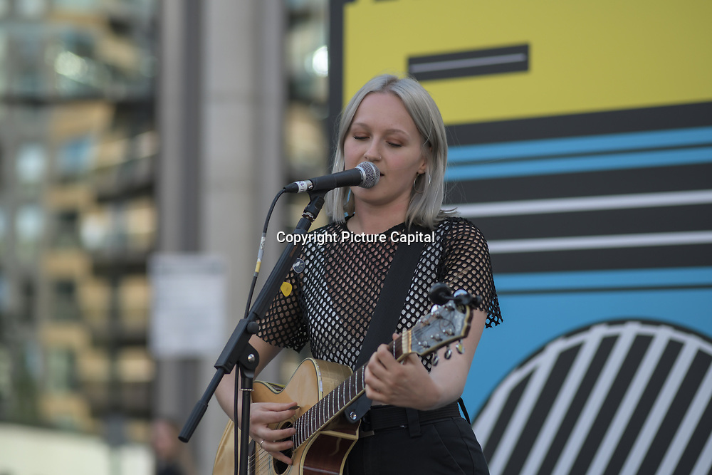 S.O.S performs at the International Busking Day is returning to Wembley Park on 20 July 2019, London, UK.