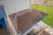 Part of roofing of pressbox of baseball field at North Forest High School, February 23, 2015.