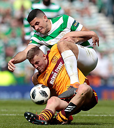 Celtic's Tom Rogic (top) competes with Motherwell's Allan Campbell during the William Hill Scottish Cup Final at Hampden Park, Glasgow.