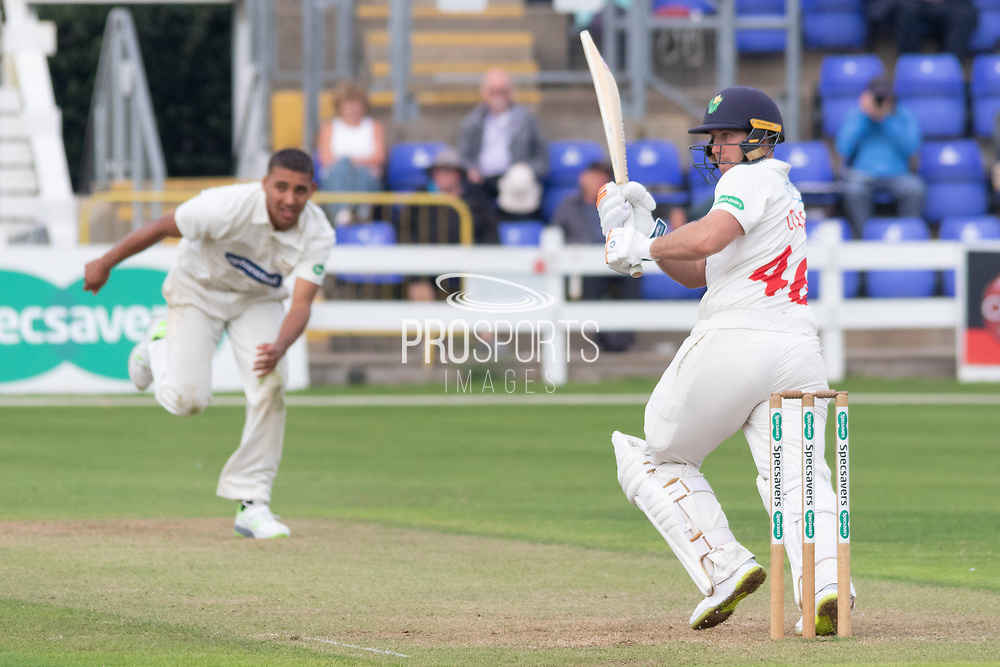 Chris Cooke flicks Ben Mike for 4 during the Specsavers County Champ Div 2 match between Glamorgan County Cricket Club and Leicestershire County Cricket Club at the SWALEC Stadium, Cardiff, United Kingdom on 16 September 2019.