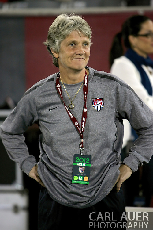 September 19, 2012 Commerce City, CO.  Pia Sundhage takes the field one last time as USA head coach prior the Soccer Match between the USA Women's National Team and the Women's Australian team at Dick's Sporting Goods Park in Commerce City, Colorado