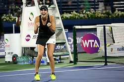 DUBAI-, Feb. 24, 2019  Belinda Bencic of Switzerland celebrates victory after the women's singles final match between Belinda Bencic of Switzerland and Petra Kvitova of the Czech Republic at Dubai Duty Free Tennis WTA Championships 2019 in Dubai, the United Arab Emirates, Feb. 23, 2019. Belinda Bencic won 2-1 and claimed the title. (Credit Image: © Xinhua via ZUMA Wire)