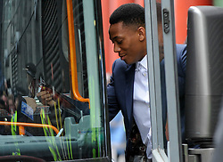 © Licensed to London News Pictures. 21/05/2016. London, UK. Anthony Martial boards the bus. Fans and supporters gather outside the Hilton hotel near Wembley Stadium to see the players of Manchester United board the team bus for the short journey to Wembley Stadium ahead of the FA Cup Final against Crystal Palace. Photo credit : Stephen Chung/LNP