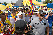 Cartagena de Indias, Bol&iacute;var, Colombia - 26.09.2016        <br /> <br /> The former president of Colombia &Aacute;lvaro Uribe V&eacute;lez takes part in a protest against the peace contract. Day of the peace treaty between the FARC and the Colombian government will get signed in Cartagena. On 2nd October follows a peace referendum takes place about the end of the 52 years ongoing civil war between the marxist FARC-EP guerrilla and the government.<br /> <br /> Der ehemalige Praesident von Kolumbien &Aacute;lvaro Uribe V&eacute;lez nimmt an Gegenprotesten zum Friedensvertrag teil. Tag der Unterzeichnung des Friedensvertrags zwischen der FARC und der kolumbianische Regierung in Cartagena. Am 02. Oktober folgt eine Volksabstimmung &uuml;ber das Ende des seit 52 Jahren dauernden B&uuml;rgerkrieges zwischen der marxistischen FARC-EP Guerilla und der Regierung statt.<br /> <br /> Photo: Bjoern Kietzmann