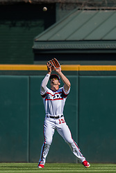 May 6, 2018 - Chicago, IL, U.S. - CHICAGO, IL - MAY 06: Chicago White Sox center fielder Adam Engel (15) catches a fly ball during a game between the Minnesota Twins the Chicago White Sox on May 6, 2018, at Guaranteed Rate Field, in Chicago, IL. (Photo by Patrick Gorski/Icon Sportswire) (Credit Image: © Patrick Gorski/Icon SMI via ZUMA Press)