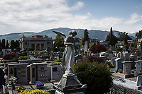 VERBANIA, ITALY - 18 APRIL 2017: The cemetery of Vernania, where Emma Morano was buried, is seen here in Verbania, Italy, on April 18th 2017.<br /> <br /> Emma Morano, born in 1899, was an Italian supercentenarian who, prior to her death at the age of 117 years and 137 days, was the world's oldest living person whose age had been verified, and the last living person to have been verified as being born in the 1800s. She died on April 15th 2017.