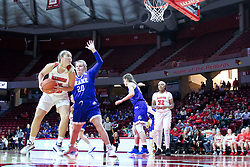 NORMAL, IL - January 06: Lexi Wallen moves in for a shot while guarded by Maddy Dean during a college women's basketball game between the ISU Redbirds and the Drake Bulldogs on January 06 2019 at Redbird Arena in Normal, IL. (Photo by Alan Look)