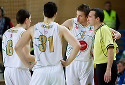 Vlado Ilievski, Saso Ozbolt, Vladimer Boisa and referee Marko Vuckovic during basketball match between KK Union Olimpija and KK Krka in 3rd Quarterfinal of Spar Slovenian Cup, on February 11, 2011 in Sportna dvorana Poden, Skofja Loka, Slovenia. (Photo By Vid Ponikvar / Sportida.com)