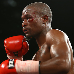 DURBAN, SOUTH AFRICA - MAY 16, Frans Ramabola super welterweight during the pre fight card during the WBC ELIMINATION FIGHT,at the  Inkosi Albert Luthuli ICC, Durban May 16, 2015 in DURBAN, South Africa. (Photo by Steve Haag)