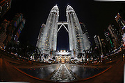 A night view from the ground of the Petronas Twin Towers on Wednesday April 24th 2013 in Kuala Lumpur, Malaysia. (Photo by Brian Garfinkel)