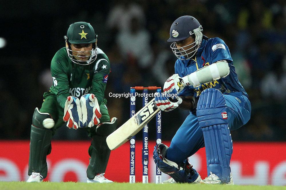 Mahela Jayawardene during the ICC World Twenty20 semi final match between Sri Lanka and Pakistan held at the Premadasa Stadium in Colombo, Sri Lanka on the 4th October 2012<br /> <br /> Photo by Ron Gaunt/SPORTZPICS